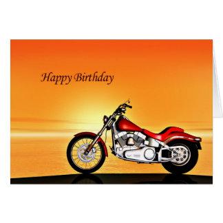 Cartão de aniversário do por do sol da motocicleta