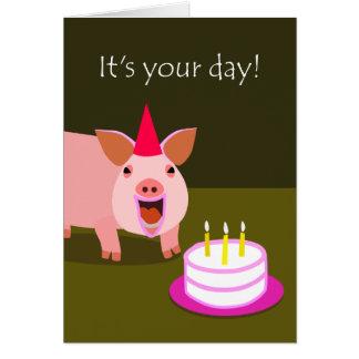 Cartão de aniversário do porco