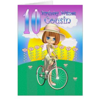 Cartão de aniversário do primo 10o com a menina na