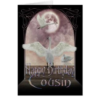 Cartão de aniversário do primo - cisnes