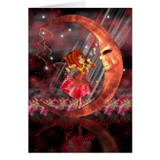 Cartão de aniversário do primo com a lua feericame