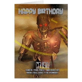 Cartão de aniversário do primo com Cyborg - robô m