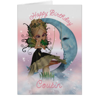 Cartão de aniversário do primo com fada bonito de