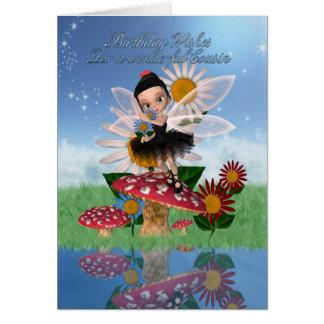 Cartão de aniversário do primo com fada da ameixa