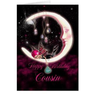 Cartão de aniversário do primo com fada da lua da