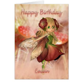 Cartão de aniversário do primo com fada da morango