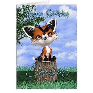 Cartão de aniversário do primo com Fox bonito e