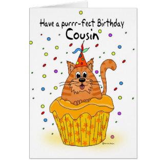 cartão de aniversário do primo com o gato do cupca