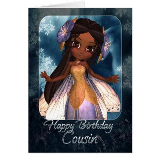Cartão de aniversário do primo - fada azul bonito