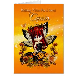 cartão de aniversário do primo - fada da cor do ou