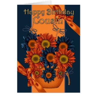 Cartão de aniversário do primo - girassol e libélu