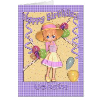 Cartão de aniversário do primo - menina bonito