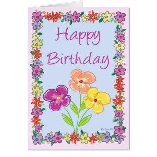 Cartão de aniversário do quadro da flor