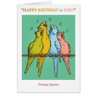 Cartão de aniversário do quarteto de Petshop