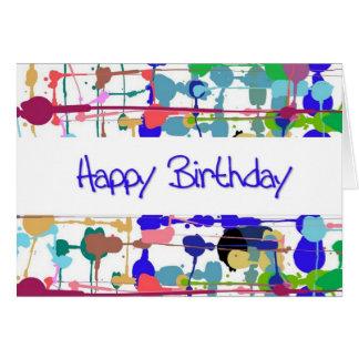Cartão de aniversário do respingo da cor (letras