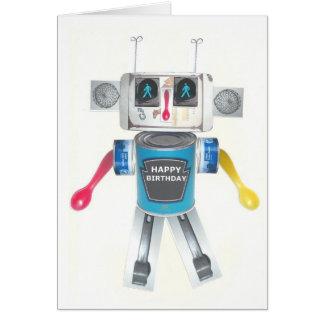 Cartão de aniversário do robô do reciclado