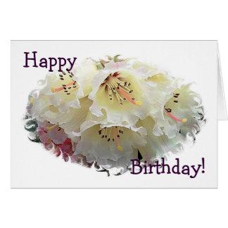 Cartão de aniversário do rododendro