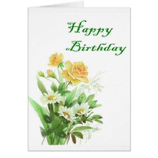 Cartão de aniversário do rosa amarelo