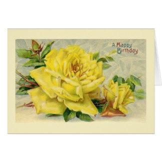 Cartão de aniversário do rosa amarelo do Victorian