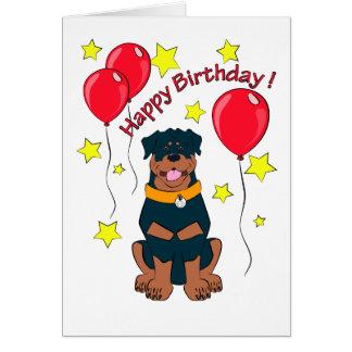 Cartão de aniversário do rottweiler dos desenhos