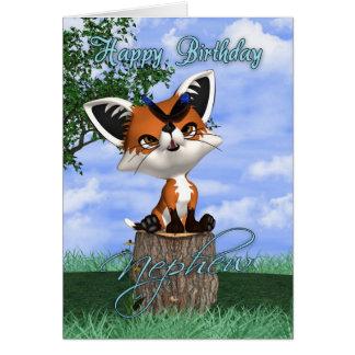 Cartão de aniversário do sobrinho com Fox bonito e