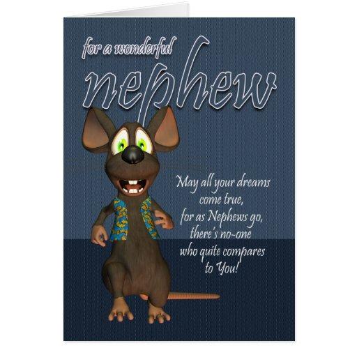 Cartão de aniversário do sobrinho - com rato Funky