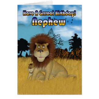 Cartão de aniversário do sobrinho - leão e Cub