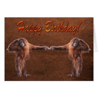 Cartão de aniversário do suporte dos animais selva