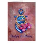 Cartão de aniversário do tatuagem da âncora