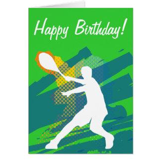 Cartão de aniversário do tênis com a silhueta do