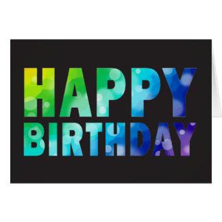 Cartão de aniversário do teste padrão do arco-íris