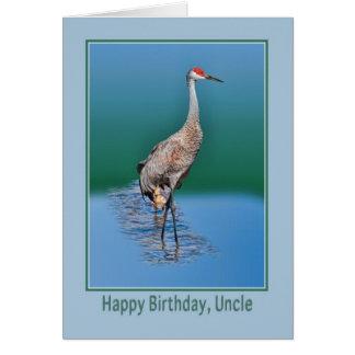 Cartão de aniversário do tio com o guindaste de