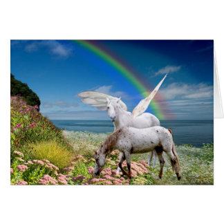 Cartão de aniversário do unicórnio e do Pegasus