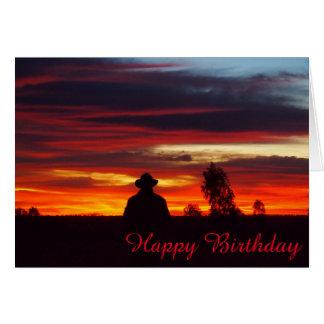 Cartão de aniversário do vazio do por do sol do