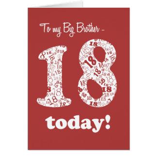 Cartão de aniversário do vermelho chique 18o para