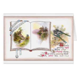 Cartão de aniversário do vintage do livro & dos