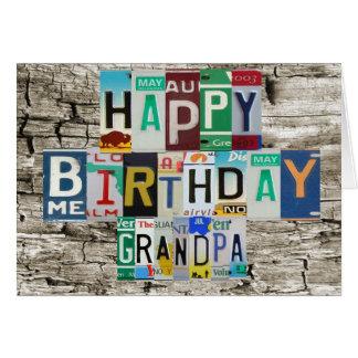 Cartão de aniversário do vovô das matrículas