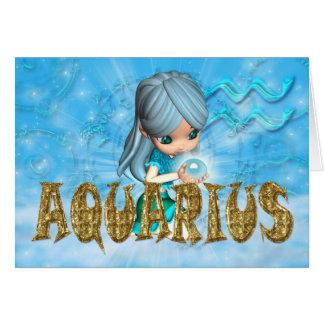 Cartão de aniversário do zodíaco do Aquário com aq