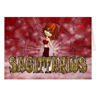 Cartão de aniversário do zodíaco do Sagitário com