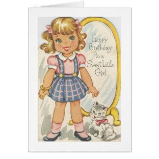 Cartão de aniversário doce da menina do vintage
