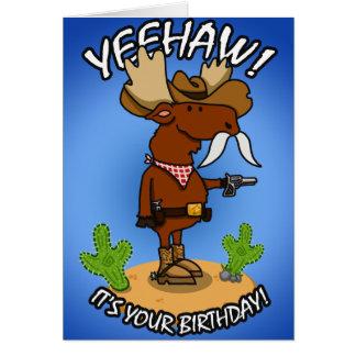 Cartão de aniversário dos alces do vaqueiro