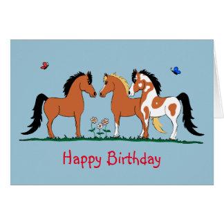 Cartão de aniversário dos amigos do cavalo de