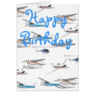 Cartão de aniversário dos aviões