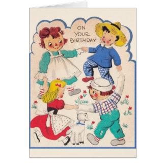 Cartão de aniversário dos caráteres do livro da