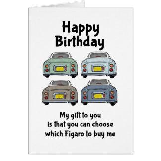 Cartão de aniversário dos carros de Nissan Figaro