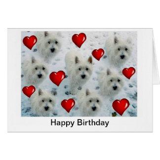 Cartão de aniversário dos corações de Westie