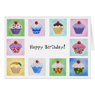 Cartão de aniversário dos cupcakes de O dos lotes