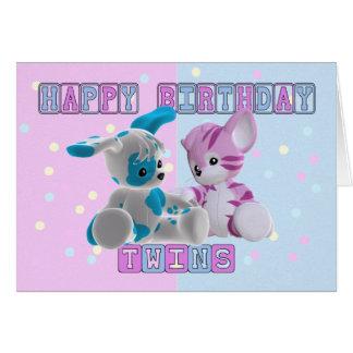 Cartão de aniversário dos gêmeos - rosa e azul