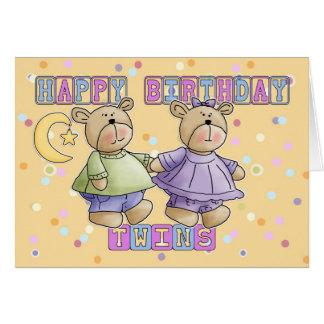 Cartão de aniversário dos gêmeos - ursos de ursinh