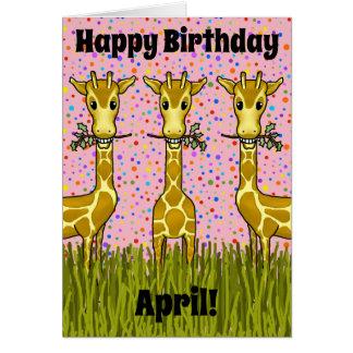 Cartão de aniversário dos girafas
